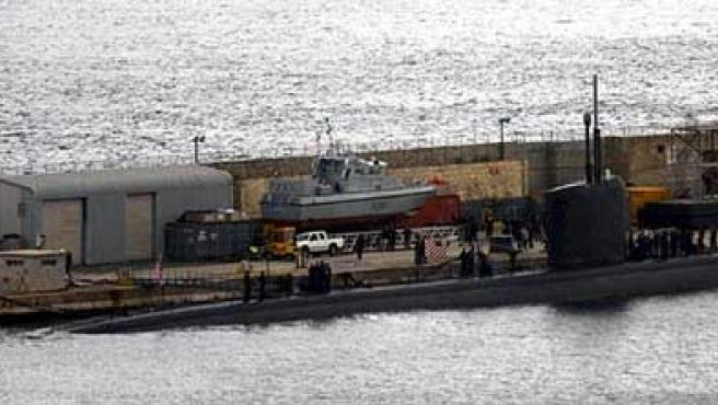 Vista del submarino 'USS Alexandria' atracado en Gibraltar. (EFE)