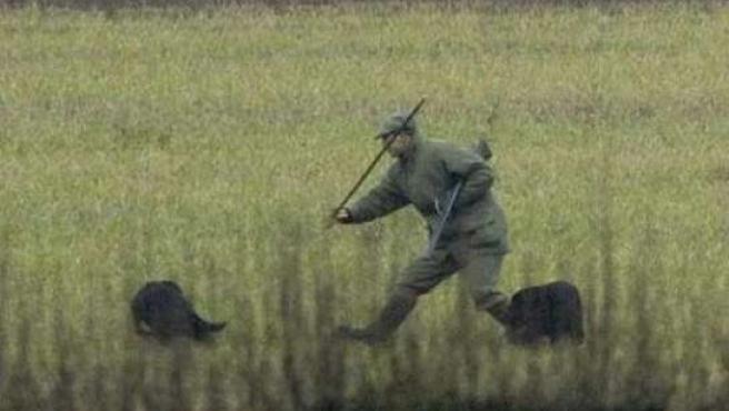 La imagen de la polémica, donde el príncipe Eduardo parece que va a golpear a un perro. (DAILY TELEGRAPH)