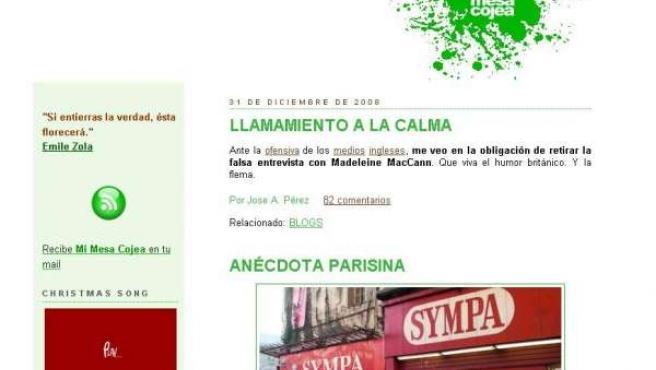 Cabecera del blog mimesacojea.com, de José A. Pérez, el último día del 2008.