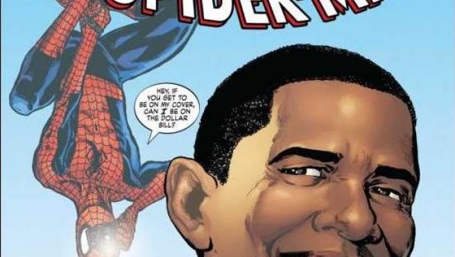 Portada del cómic en el que Spiderman salva a Obama.