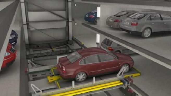 Recreación de un aparcamiento robotizado como los que se podrán hacer en Valladolid.