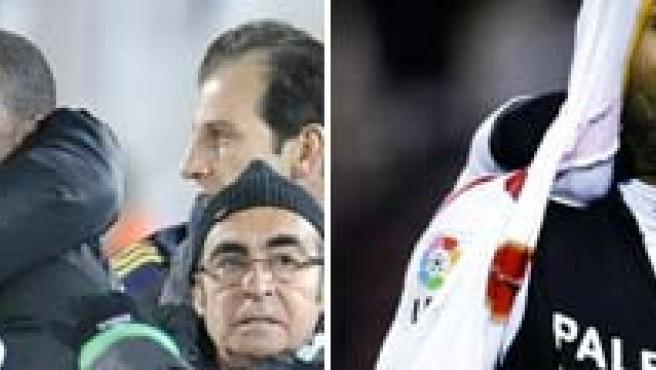 El valencianista Miguel, junto a su entrenador, y Kanouté, en los partidos de Copa.