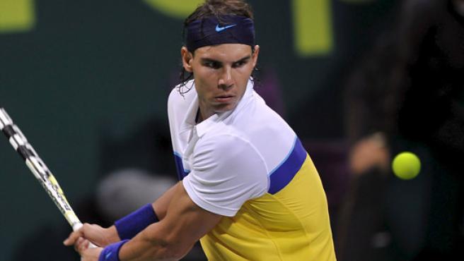 Rafa Nadal, en el torneo de Doha. (EFE)