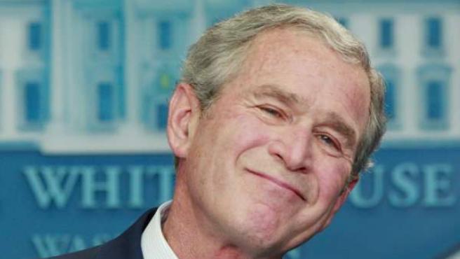 Bush durante su última conferencia de prensa en la sala de prensa de la Casa Blanca.