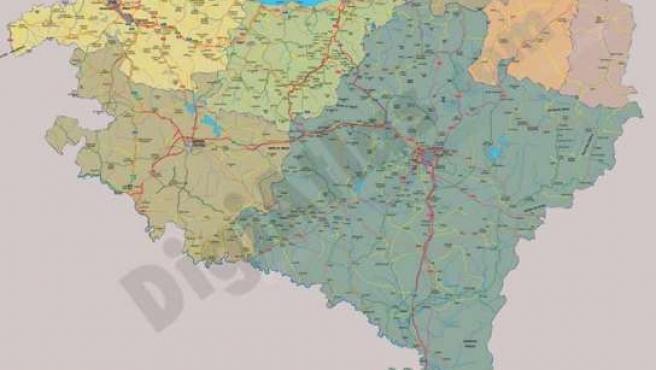 Mapa de Euskal Herria, con los siete territorios vascos.