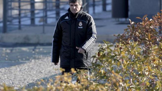 Juande Ramos, en el entrenamiento de esta mañana en Valdebebas. (EFE)
