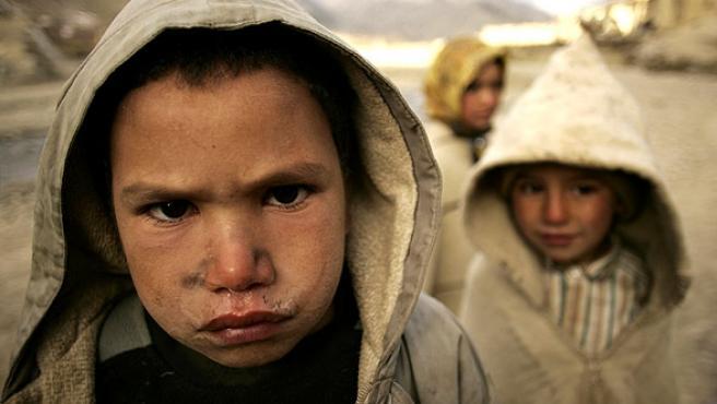 Dos niños marroquíes en la localidad de Anfgo.