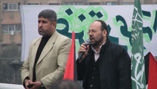 Ali Barakeh, representante de Hamás en Siria, durante una manifestación pro Palestina previa a su encuentro con los medios.