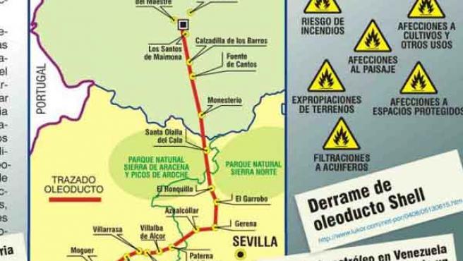 Mapa del trazado del oleoducto que proyecta atravesar la provincia.