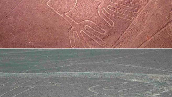 """La figura de """"las manos"""", en Nazca, antes y después de las lluvias. (EFE)."""