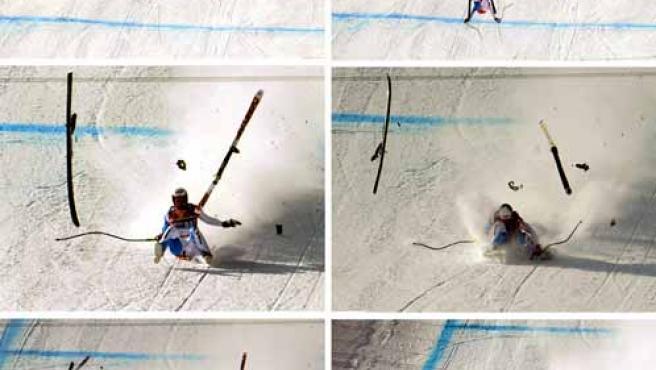 Combo fotográfico que muestra laa aparatosa caída sufrida por el esquiador suizo Daniel Albrecht