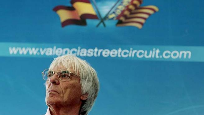 El magnate de la Fórmula Uno, durante su visita a Valencia.