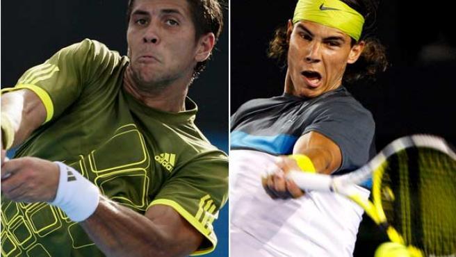 Verdasco y Nadal en sus partidos de cuartos de final en Australia. (REUTERS / EFE)