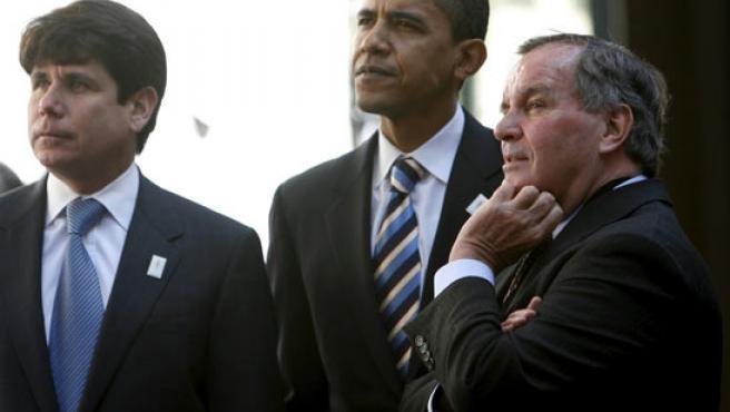 El gobernador de Illinois, Blagojevich (I), en una foto junto a Obama.