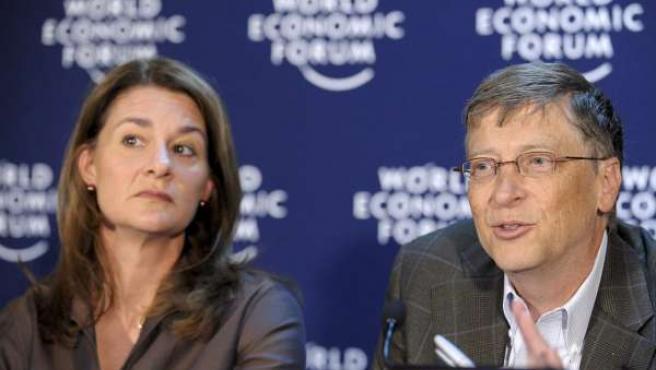 Bill y Melinda Gates, durante una rueda de prensa del Foro Económico Mundial en Davos, Suiza (EFE).