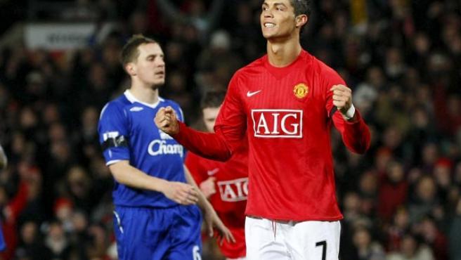 Cristiano Ronaldo celebra su gol ante el Everton.