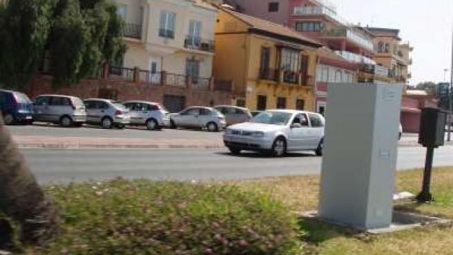 Casetón donde se guarda el radar del paseo marítimo Pablo Ruiz Picasso, a la altura del tranvía.
