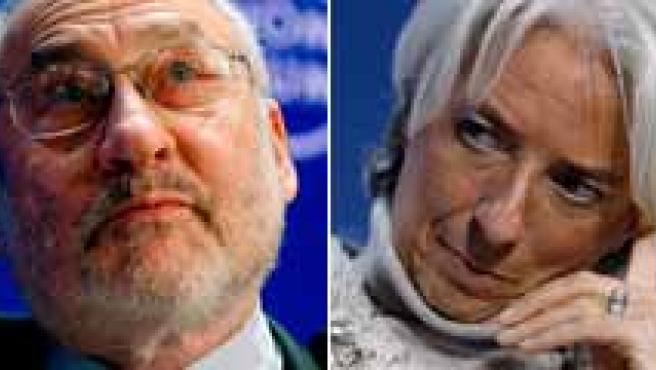 De izquierda a derecha, Angela Merkel, Joseph Stiglitz, Christine Lagarde y Pascal Lamy.