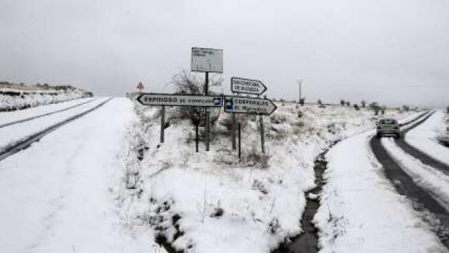 Tramo de carreteras afectadas por la nieve en León.