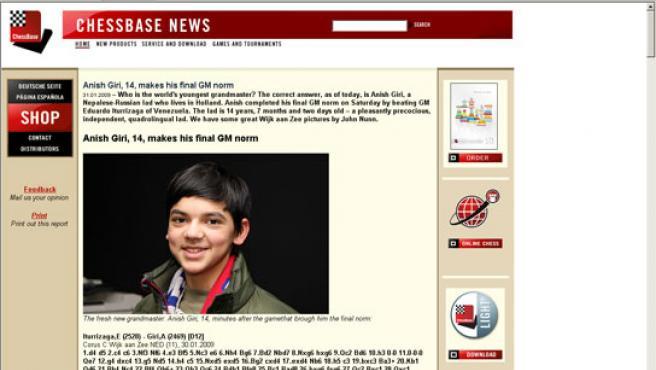 Pantallazo de Anish Giri, el Gran Maestro de ajedrez más joven del momento (14 años y siete meses), en una noticia de chessbase.