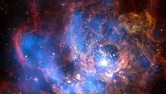 Vista a través del filtro de rayos X de la guardería estelar NGC 604