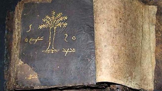 Una página de la Biblia muestra el dibujo de un árbol. (REUTERS).