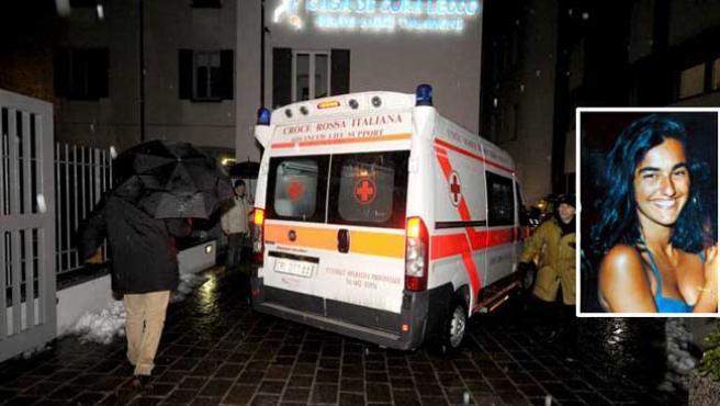 La llegada de Eluana a la clínica 'La Quiete'. En el recuadro, Eluana, en una imagen de archivo (EFE)