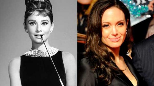 Las actrices Audrey Hepburn y Angelina Jolie.