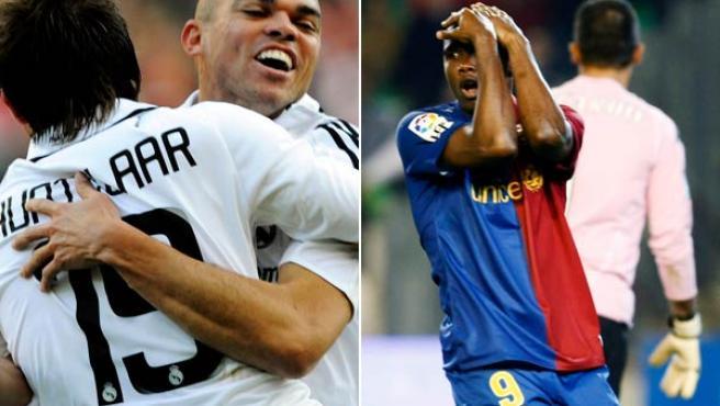 Los jugadores del Real Madrid, Pepe y Huntelaar y el delantero del Barcelona Samuel Eto'o.