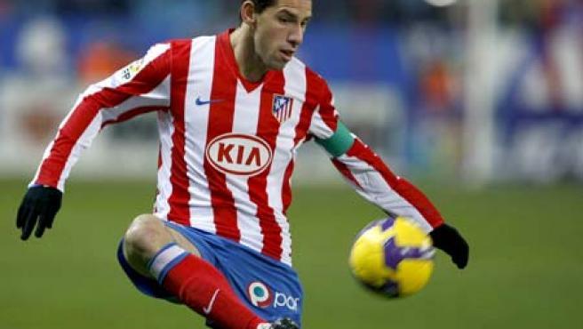 Una imagen del argentino del Atlético de Madrid, Maxi Rodríguez. (EFE)