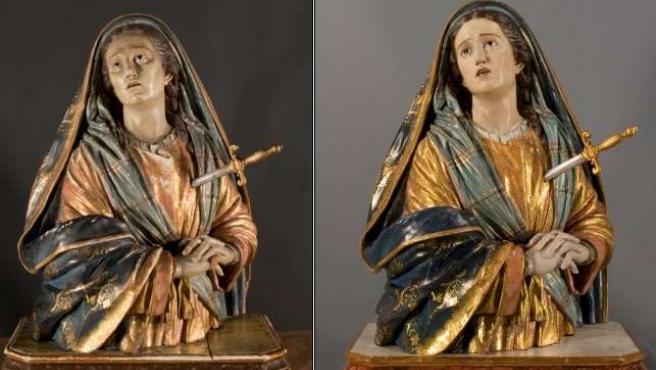 Antes (i) y después (d) de la restauración.