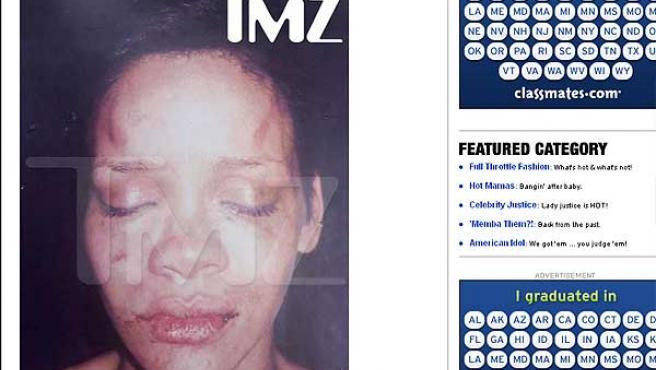 La imagen de Rihanna aparecida en TMZ.