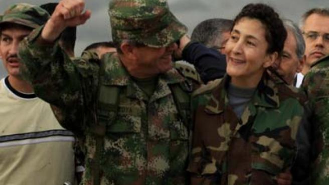 Ingrid Betancourt en un momento de su rescate.