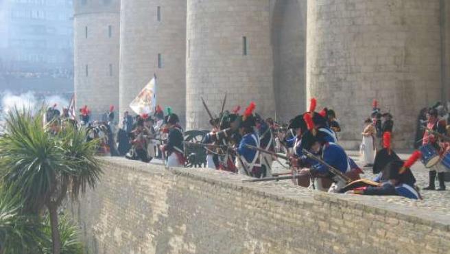 Soldados españoles recrean Los Sitios de 1808 y 1809.