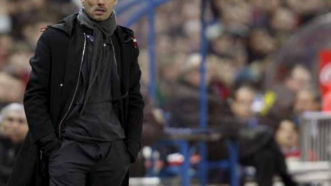 Pep Guardiola en el Viente Calderón. (EFE)