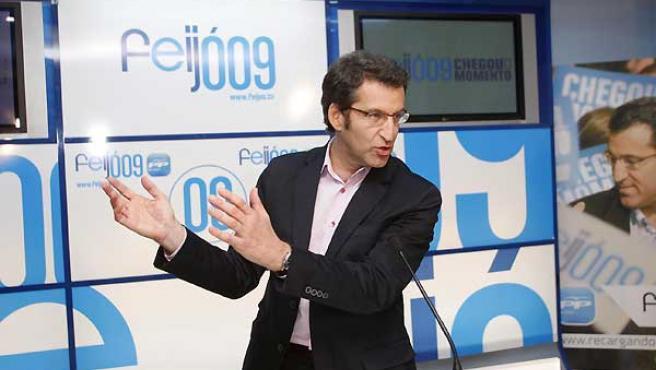 Alberto Nuñez Feijóo, en su comparecencia tras ganar las elecciones.