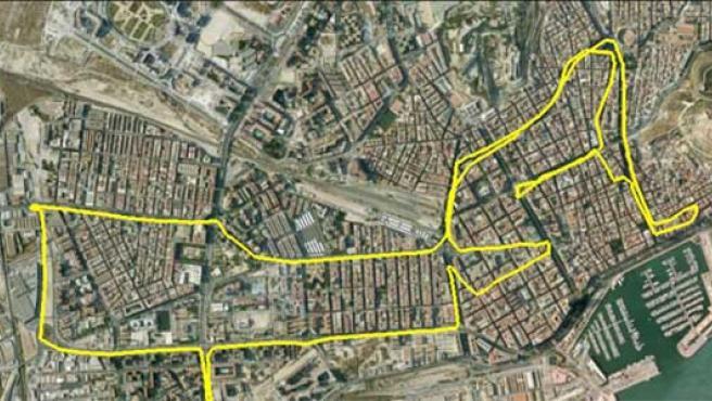 Mapa de las redes WiFi activas en el núcleo urbano de Alicante.