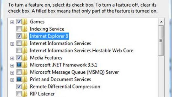 Menú en el que se puede desinstalar Internet Explorer.
