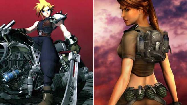Cloud, personaje de Square, y Lara Croft, de Eidos.