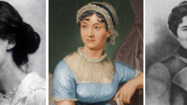 De izquierda a derecha, un fresco de Pompeya con el supuesto retrato de Safo; Virgina Woolf, Jane Austen, Rosalía de Castro y Colette