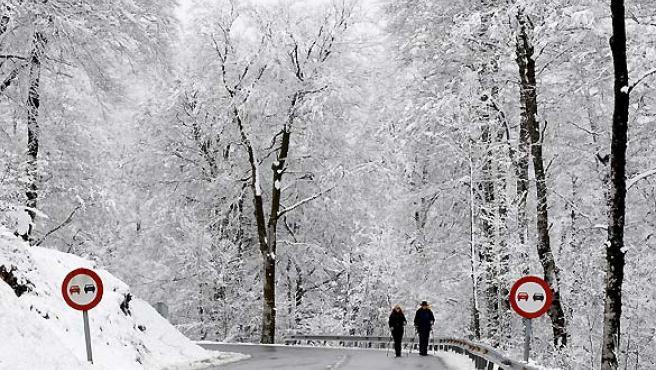 Dos peregrinos pasean por el ahora blanco alto de Ibañeta (Navarra). (Jesús Diges / EFE).