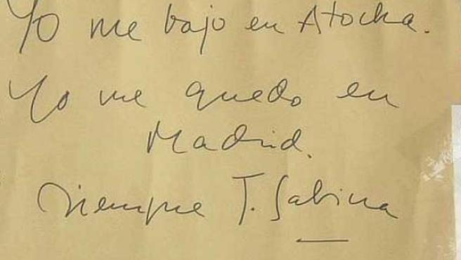 Uno de los carteles de solidaridad, escrito por Joaquín Sabina.
