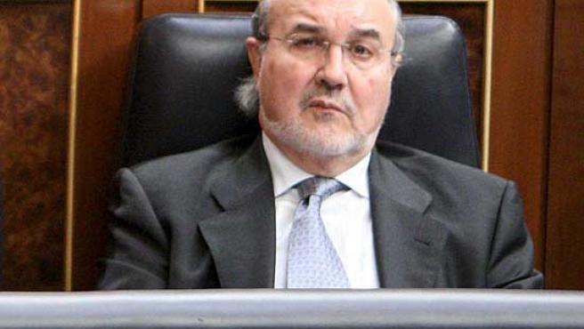 Pedro Solbes, durante el pleno del Congreso de este miércoles. (EFE)