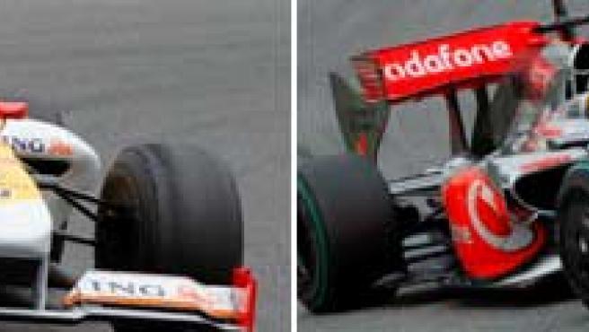 Fernando Alonso y Lewis Hamilton, entrenando en Montmeló. (EFE)