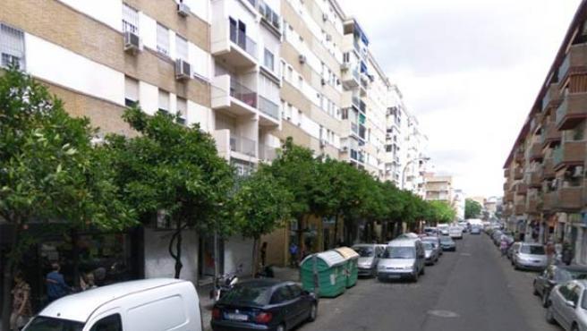 Contenedores de basura en la calle León XIII de Sevilla.