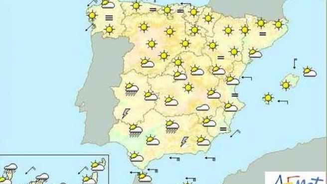 Mapa de previsión del tiempo en España para este domingo.