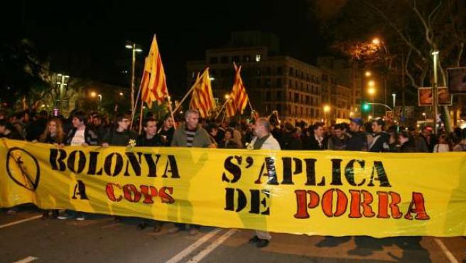 Manifestación anti Bolonia en Barcelona.