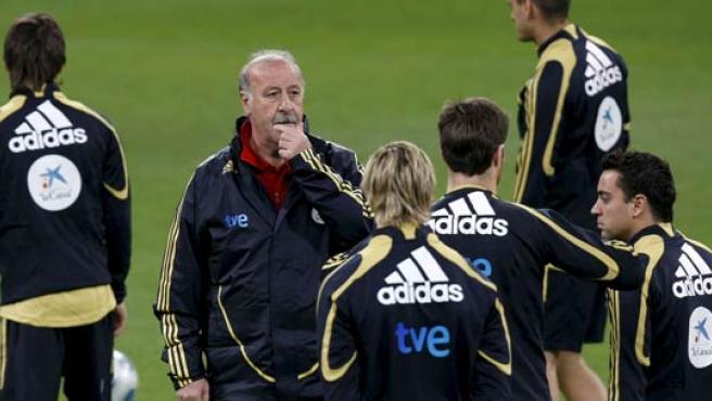 El seleccionador nacional, Vicente del Bosque, y los jugadores Fernando Torres, Xabi Alonso y Xavi Hernández durante un entrenamiento de la selección española.