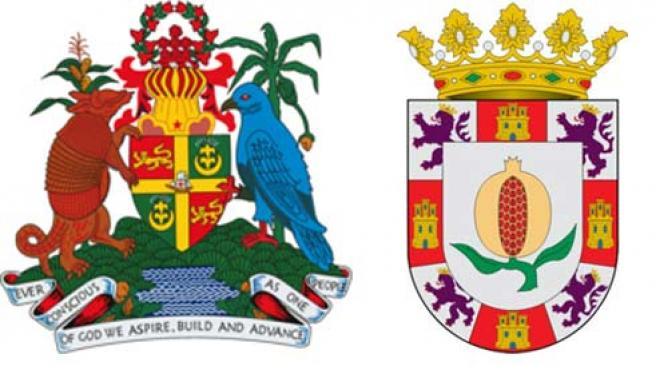 Los escudos de la isla de Granada y de la ciudad de Granada.
