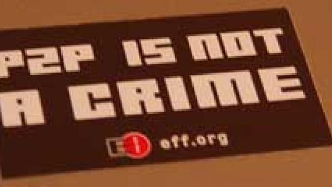 """P2P is not a crime"", se puede leer en esta pegatina."
